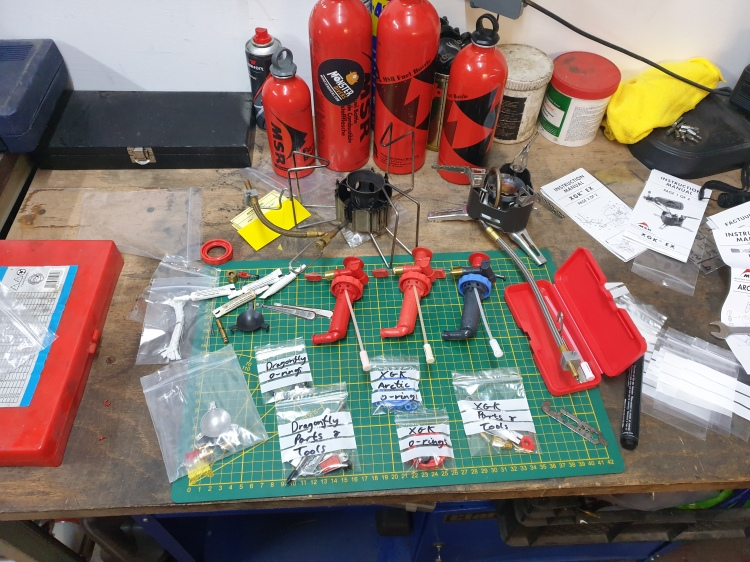 Prepared spares kits and MSR stove components