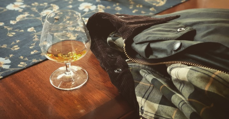 Armagnac and Barbour jacket