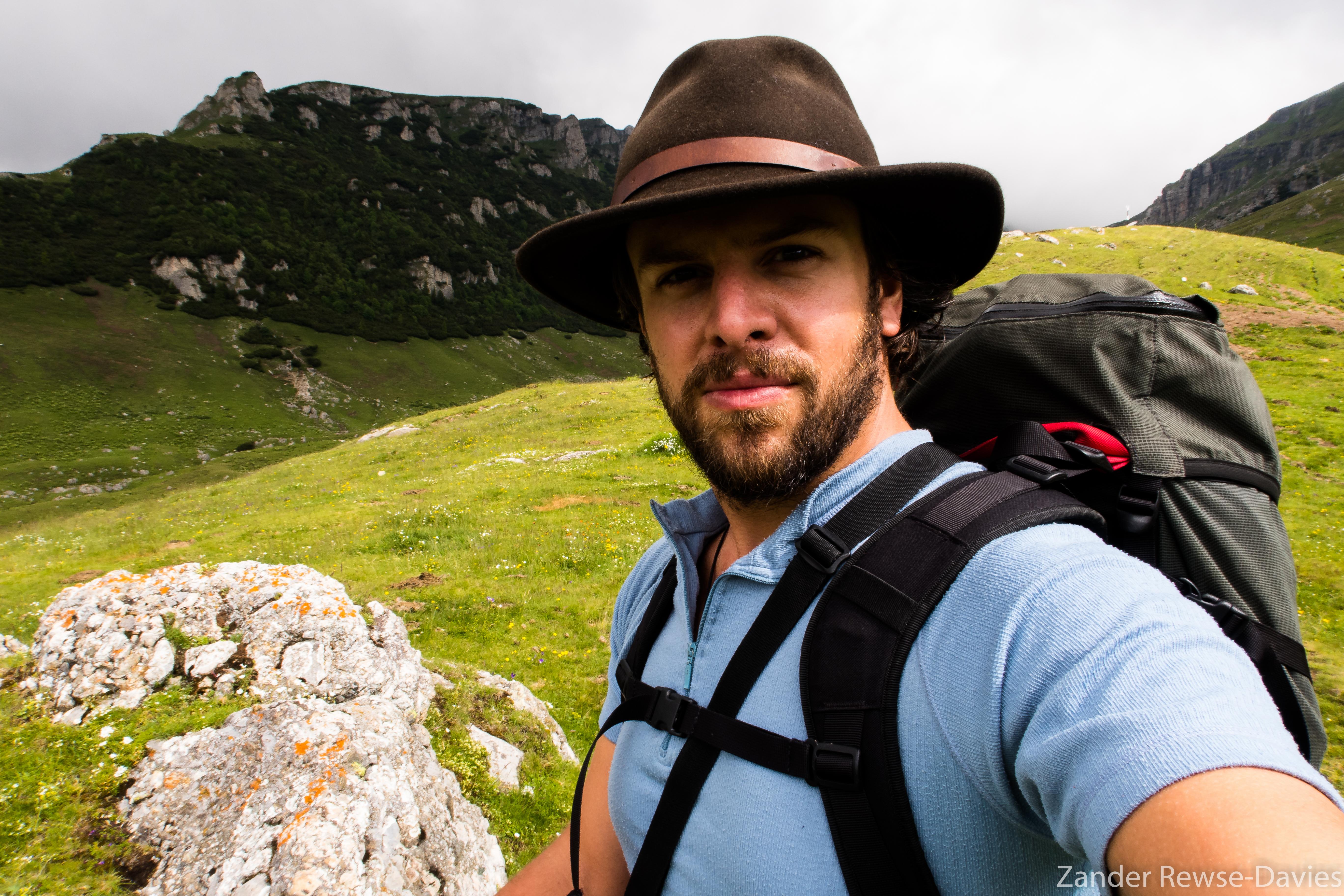 Zander hiking in Bucegi, Romania