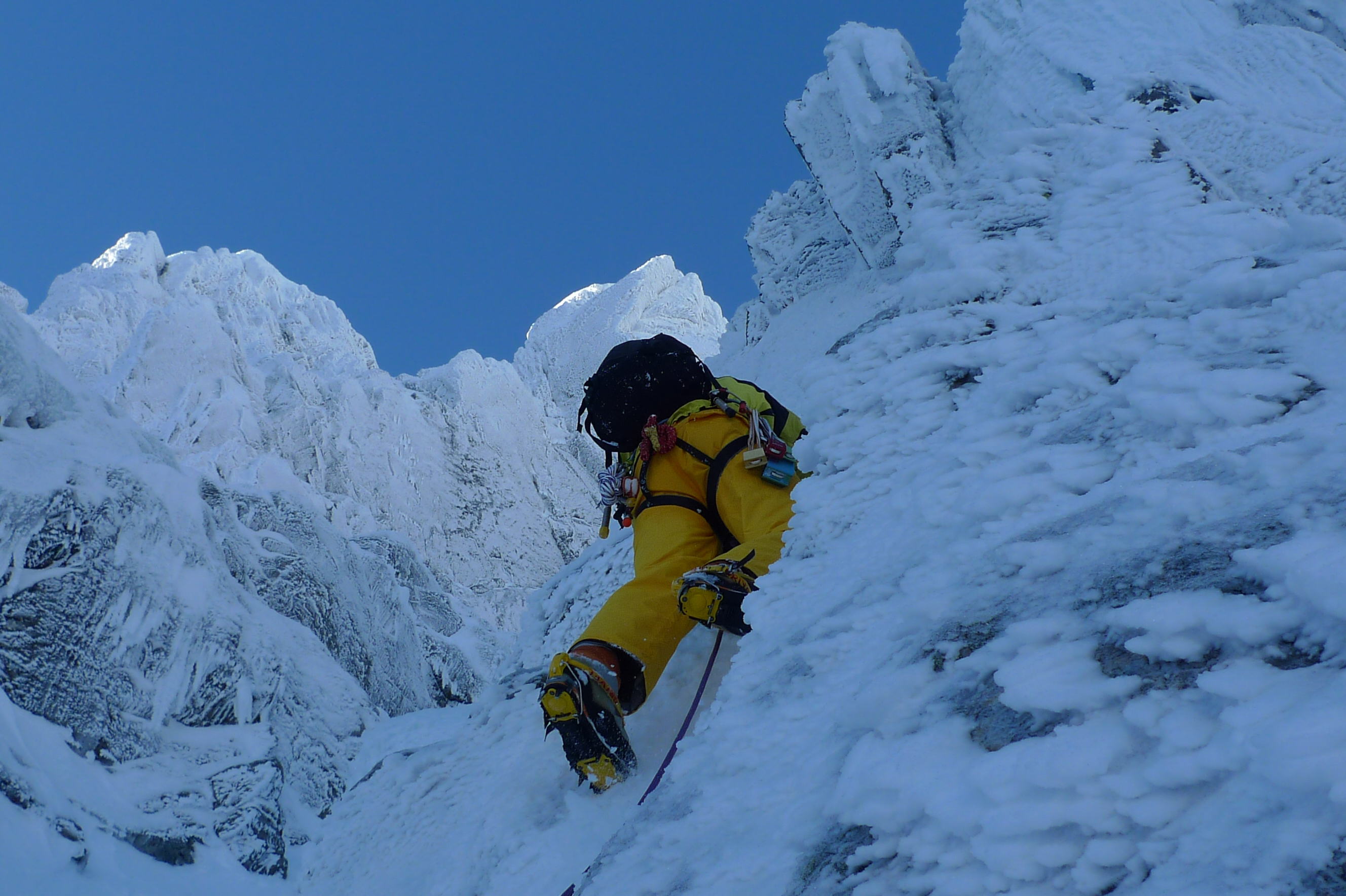 Leading the first pitch of North Gully, Ben Nevis