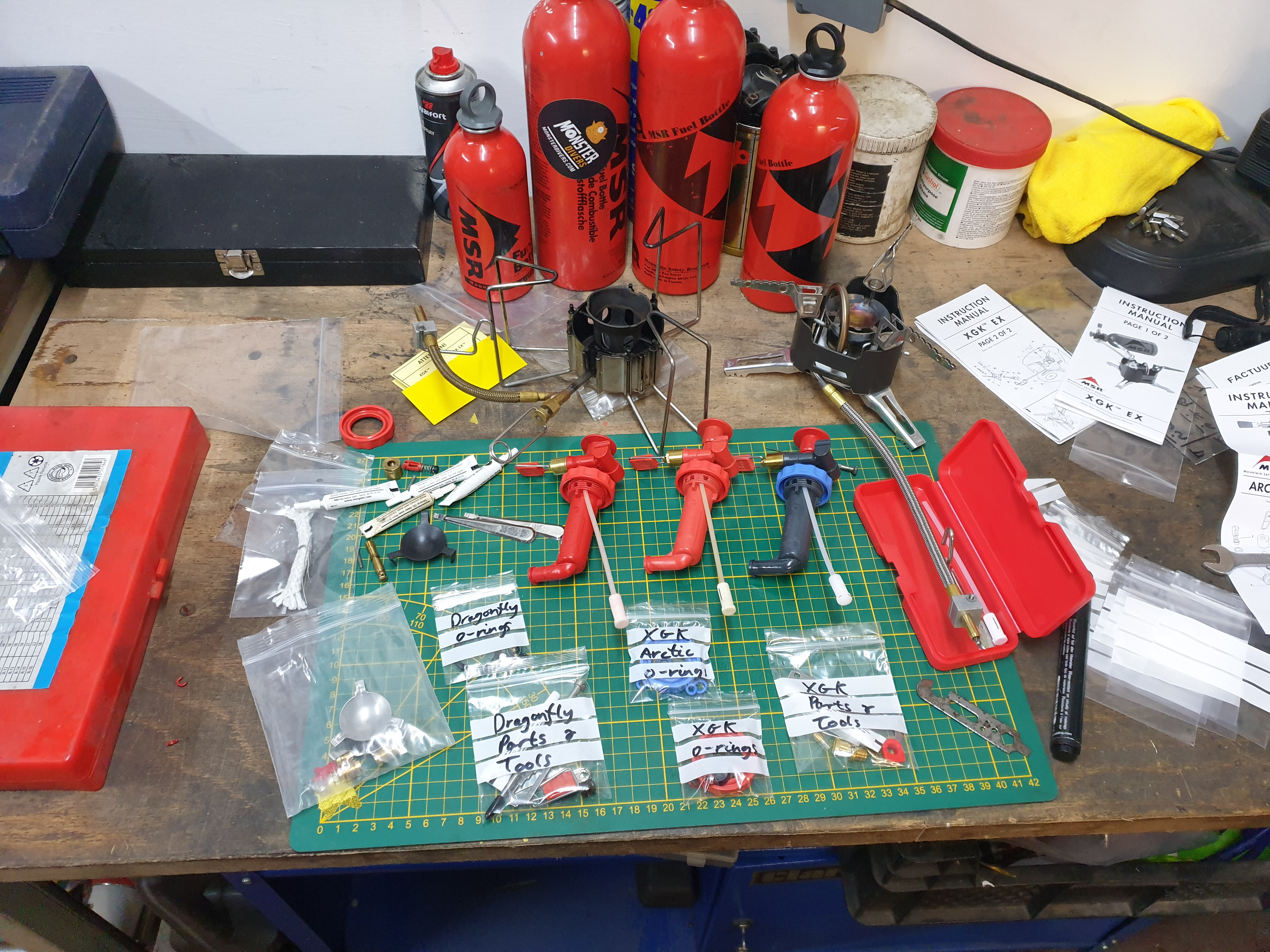 Servicing all the MSR stove components and preparing the spares