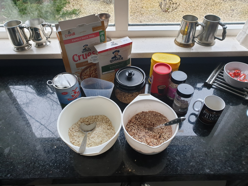 Making the various porridge portions for my expedition breakfasts