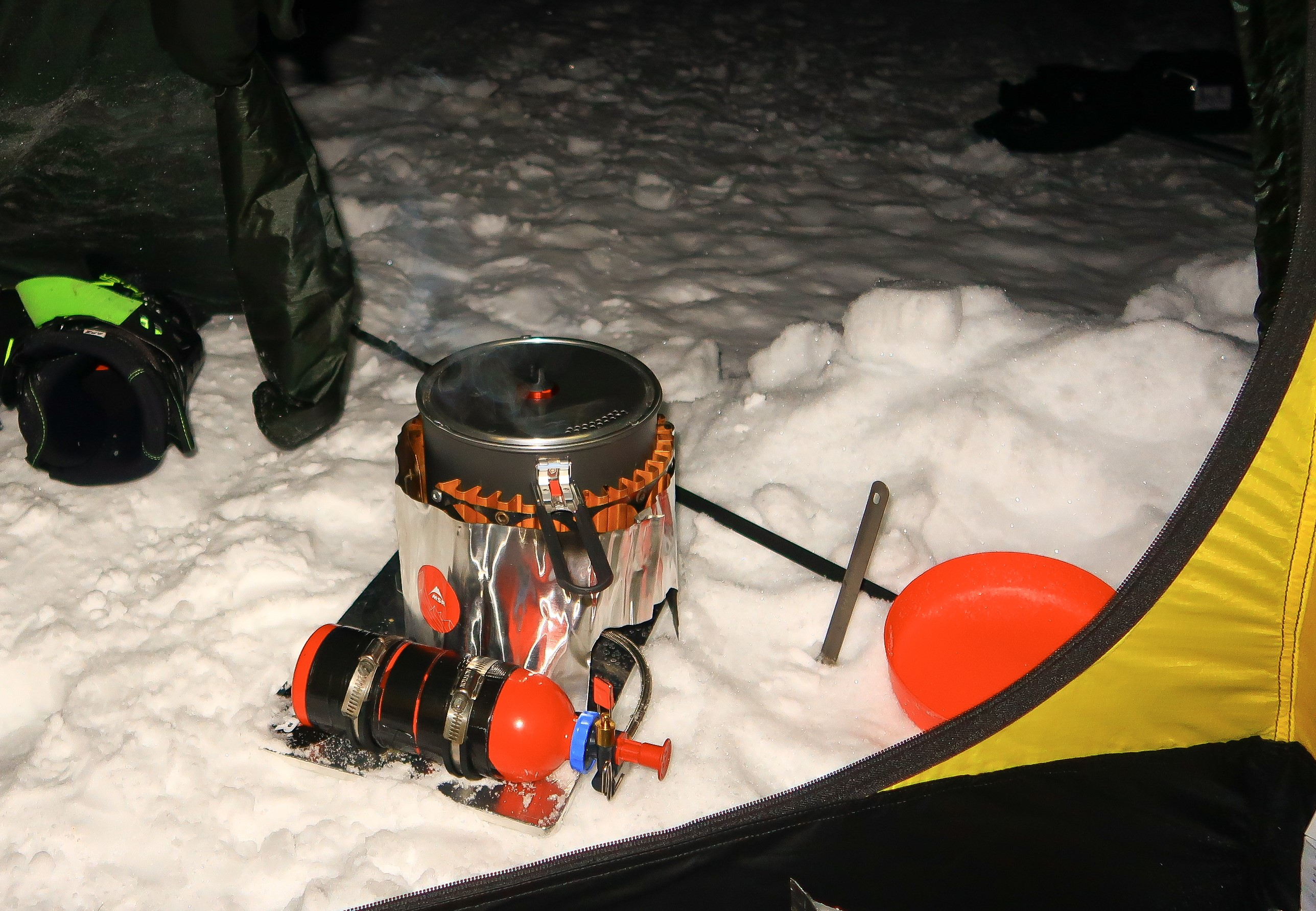 Melting snow, using the stove board