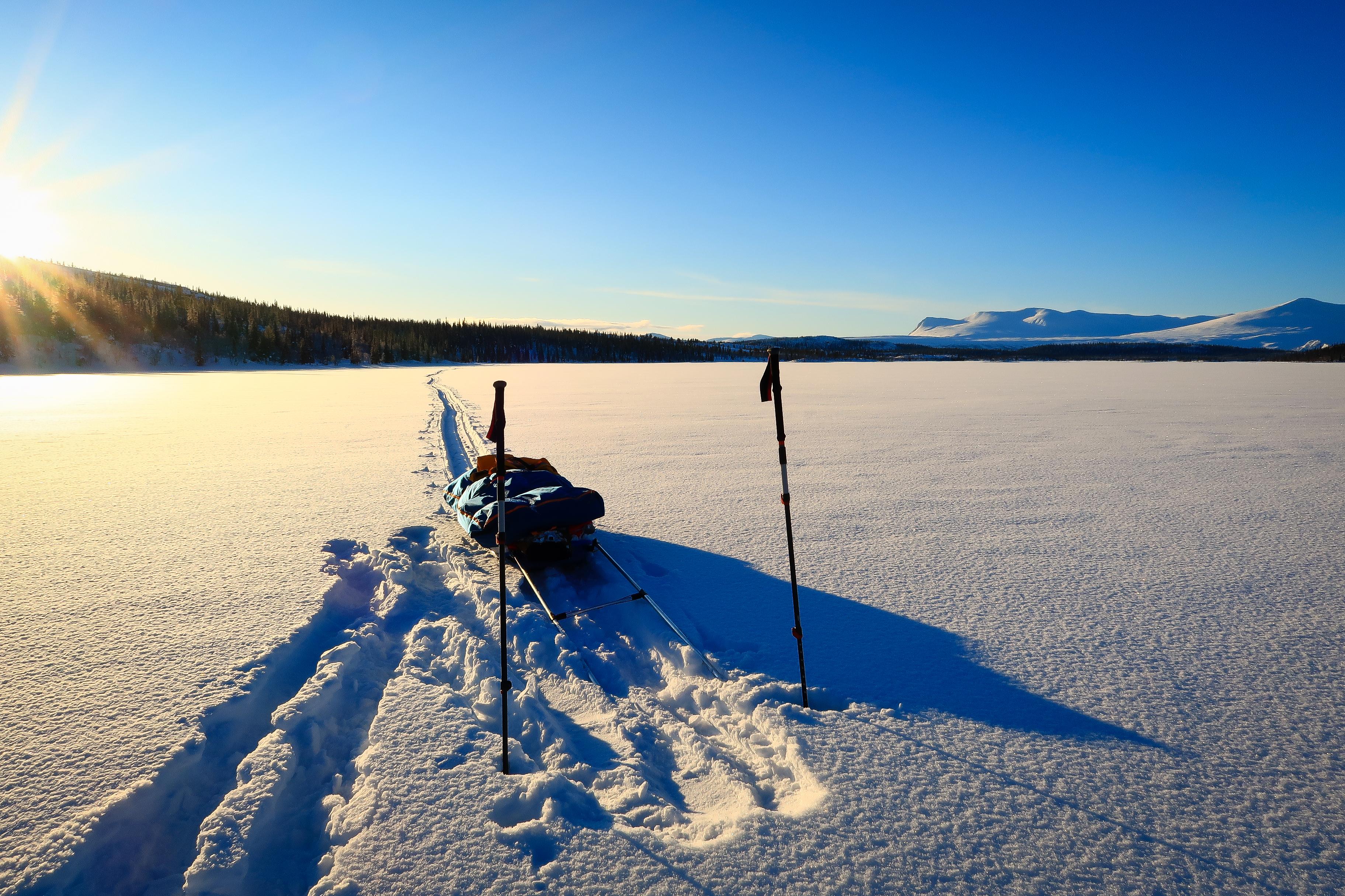 Making fresh tracks across a frozen lake