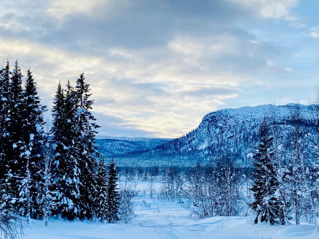 Snowcovered mountain view of Sarek National Park